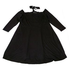 NWT Eloquii Choker Skater Dress 24 Party Black